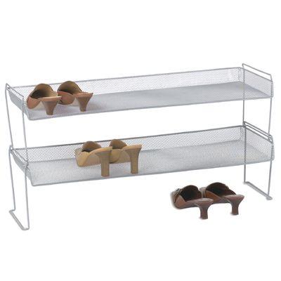 silver mesh stacking shoe shelf