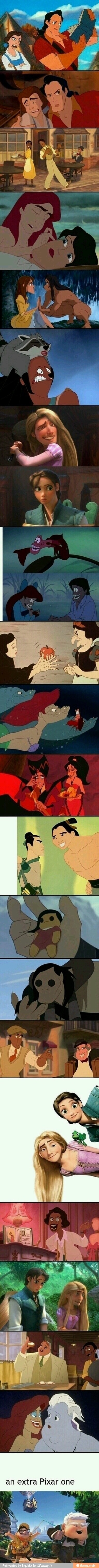 Disney characters with their faces switched! Made me lol!!