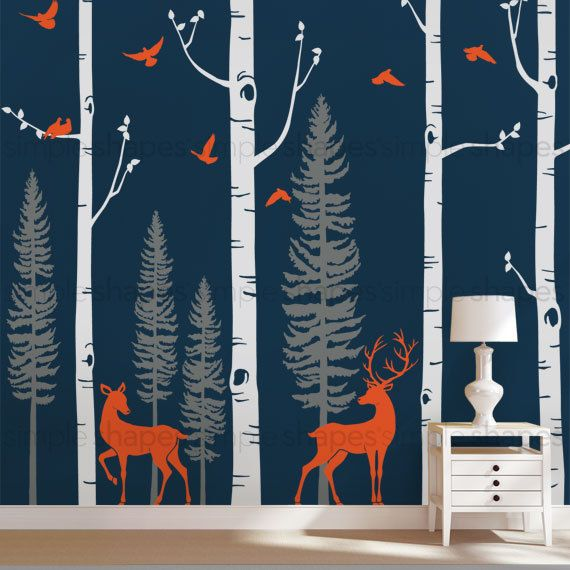 Birch Tree Wall Decal with Birds and Deer Baby by SimpleShapes