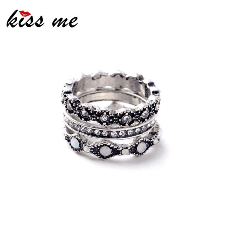 Ms Fashion Crazy Nightclub All Match Trio Plated Ancient Silver Punk Rings 1.7cm