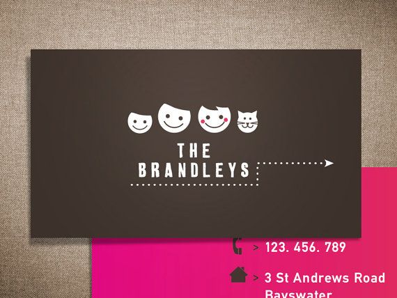 """Printable calling card template / family contact card / premade card with pet / """"Our Family"""""""