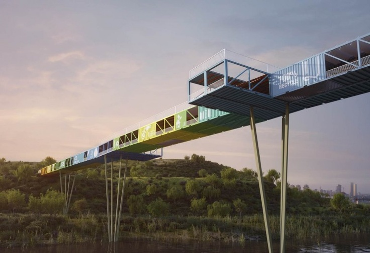 Yoav Messer Architects' competition-winning 'Ecotainer Bridge' design - the first bridge to be made from disused shipping containers. To be built in Tel Aviv.