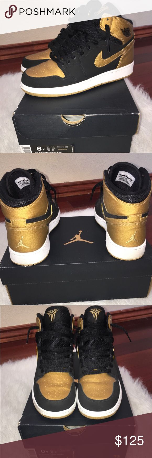 Melo Air Jordan 1s Black/metallic gold-white Air Jordan Shoes Sneakers