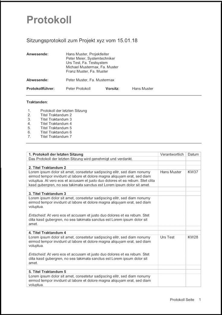 Mit Dieser Protokoll Vorlage Erstellen Sie Ein Sitzungsprotokoll Im Handumdrehen Ideal Fur Sitzungen Vereine Vorlagen Word Lebenslauf Layout Briefvorlagen
