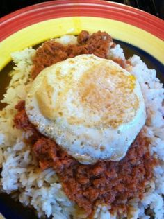 ☀Puerto Rico☀ (fried egg over corned beef and rice)