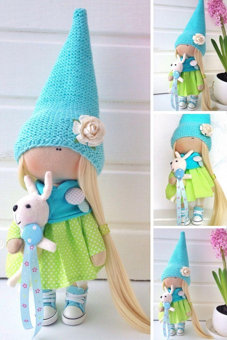 Tilda doll toy Textile doll Interior doll Art doll blonde aqua colors soft doll Fabric doll handmade doll Love doll by MasterOlga Lobchenko