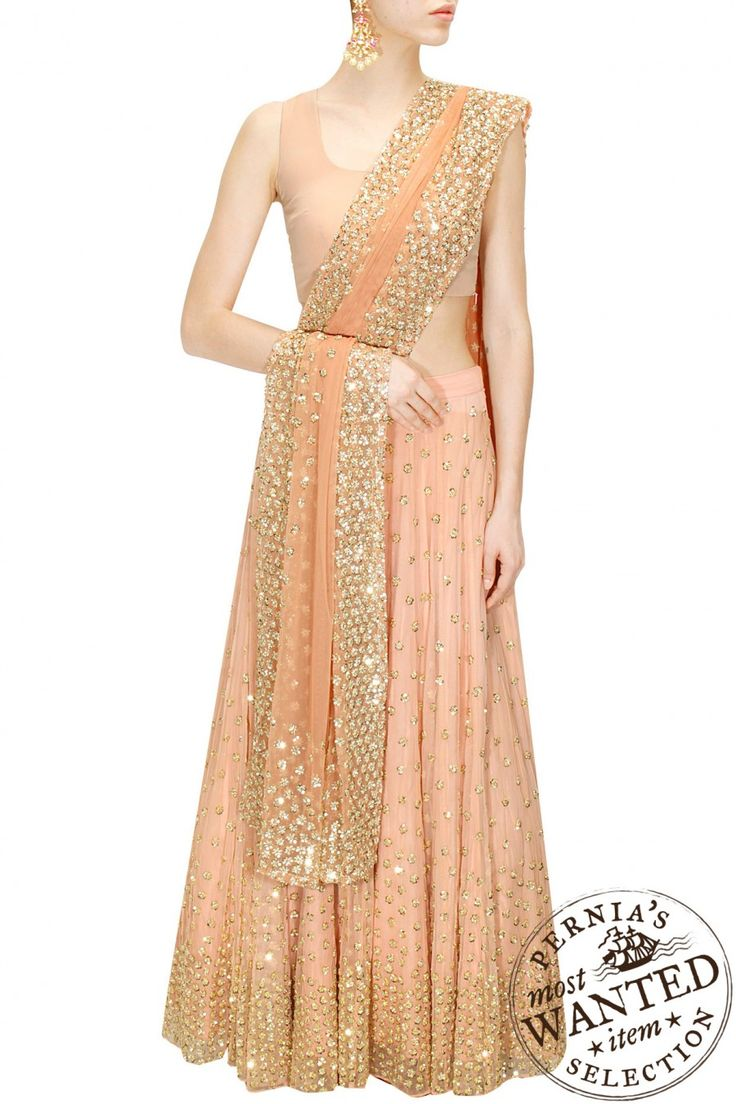 Peach shimmer lehenga set available only at Pernia's Pop-Up Shop.