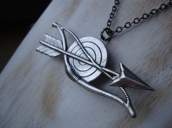 Thalia - Daughter of Zeus - Percy Jackson Inspired Bow and Arrow Locket Necklace in Oxidized Silver - The Hunters of Artemis