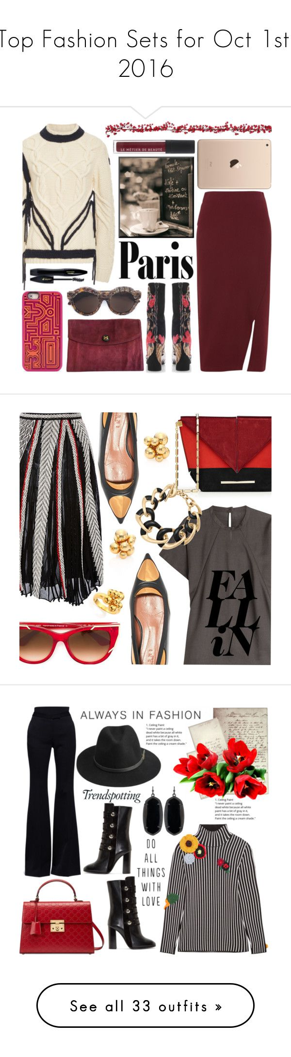 """""""Top Fashion Sets for Oct 1st, 2016"""" by polyvore ❤ liked on Polyvore featuring Tory Burch, Whistles, MSGM, ORLEY, Hermès, Kuboraum, Lancôme, Premier Decorations, Sweater and midiskirt"""