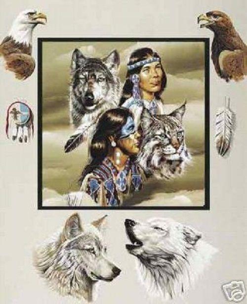 Native American Design Wolves Eagles Polar Fleece Throw Blanket 50x60 Sunburst #Sunburst