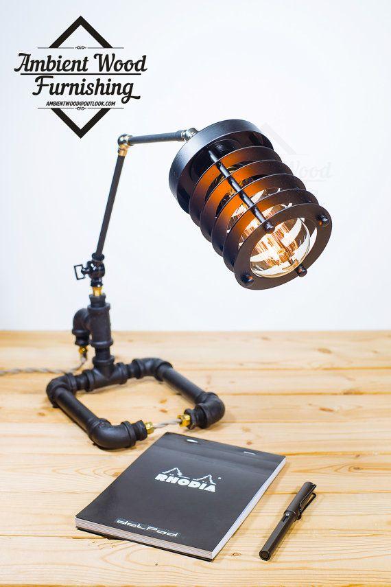 LIQUIDATION Skeleton Industrial Iron Pipe Desktop by AmbientWood