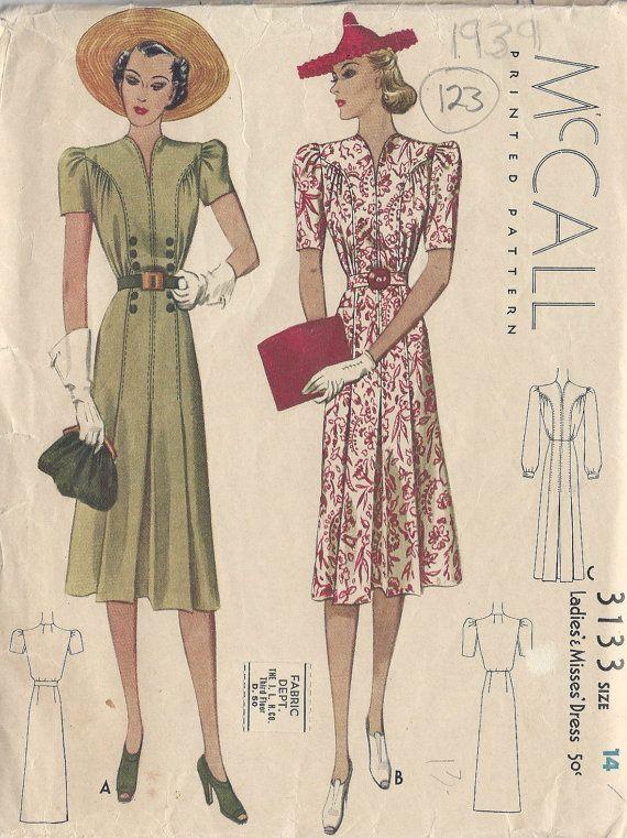 """1939 vintage naaien patroon B32 """"jurk (123) McCall 3133"""