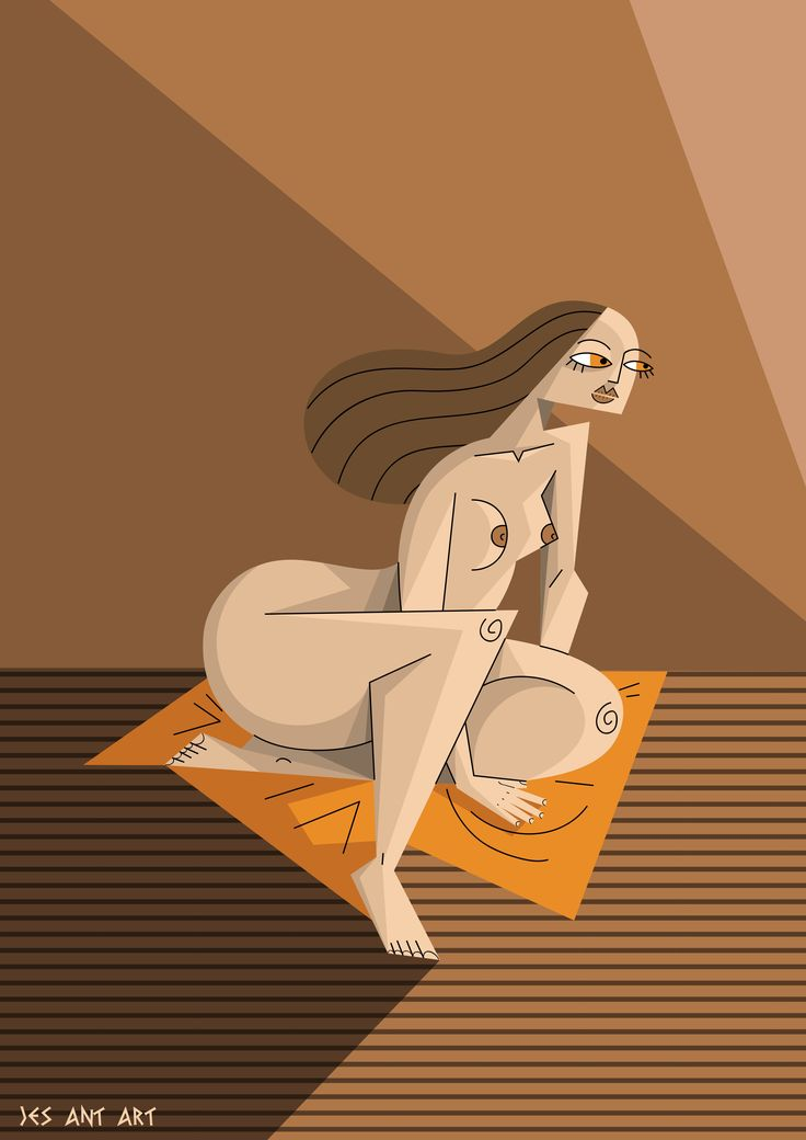 Female nude by JesAntArt #woman #towel #orange #light #illustration #nude