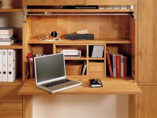Рабочий стол для ноутбука в шкафу