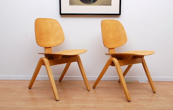 Pair of Thonet Side Chairs Maple Plywood Bentwood by AMBIANIC, $950.00