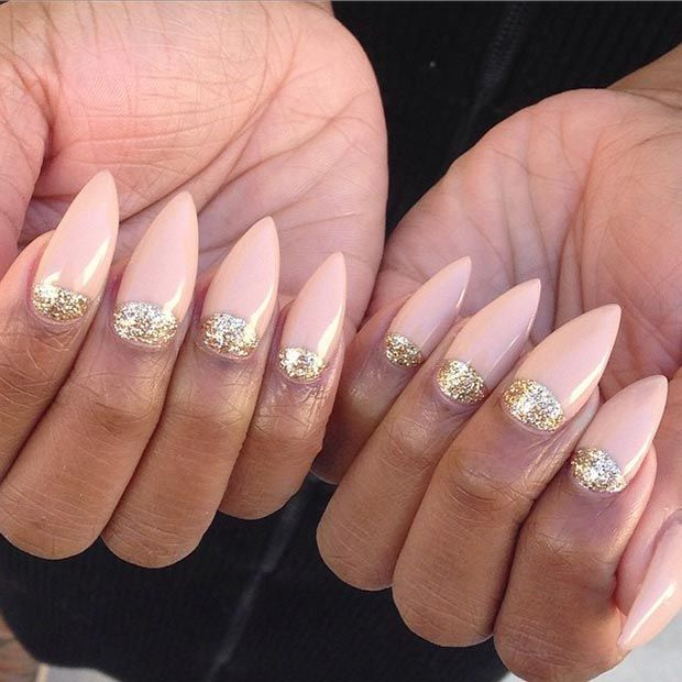 Nude + Gold Half Moon Stiletto Nails