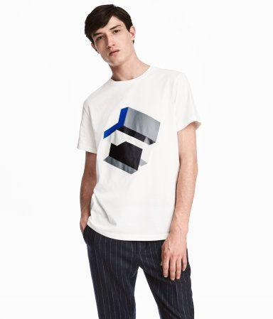 T-shirt med motiv   Vit   Herr   H&M SE
