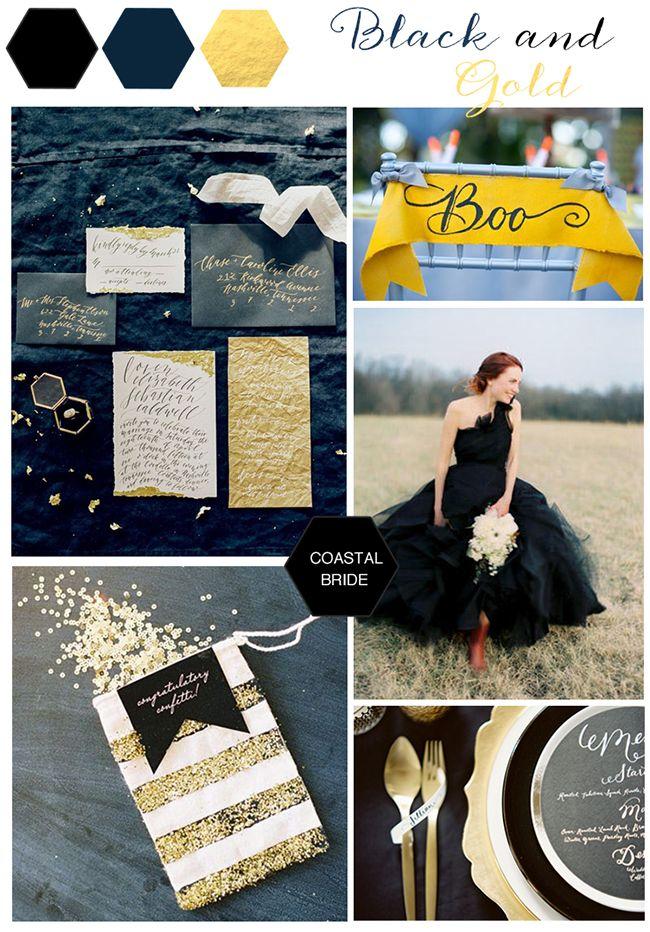 Black and Gold Halloween wedding decor