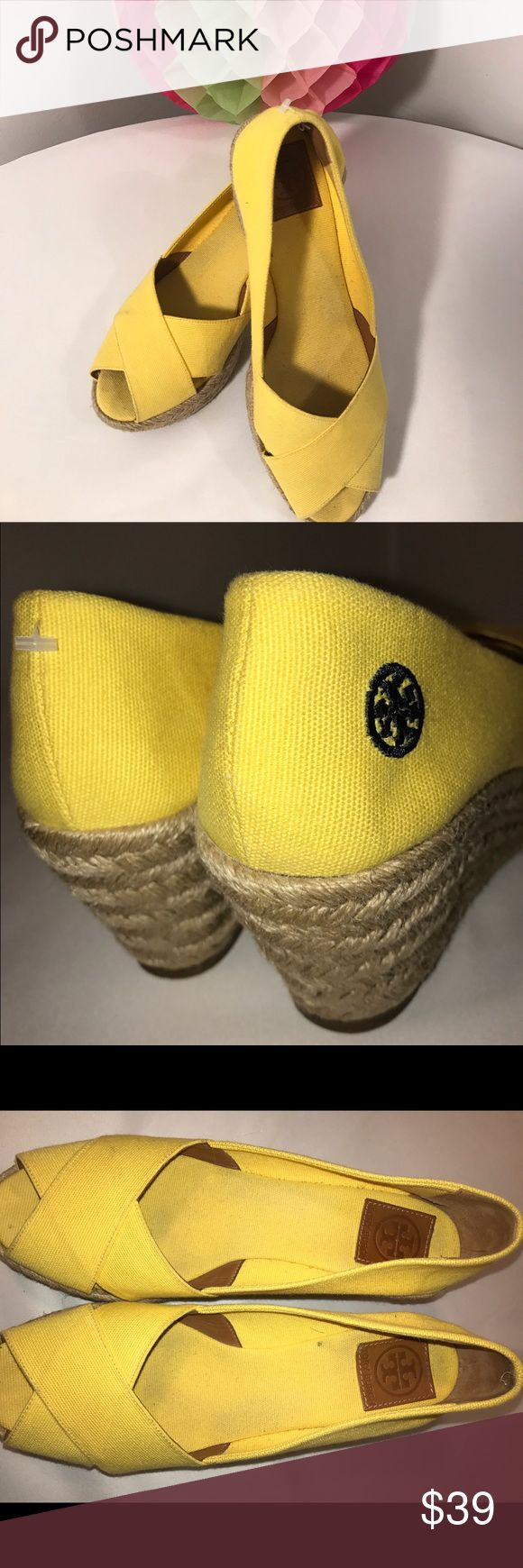 Tory Burch yellow wedge sandals 10 Never goes out of style canary yellow TORY BURCH wedge sandals size 10 very good Condition Tory Burch Shoes Wedges