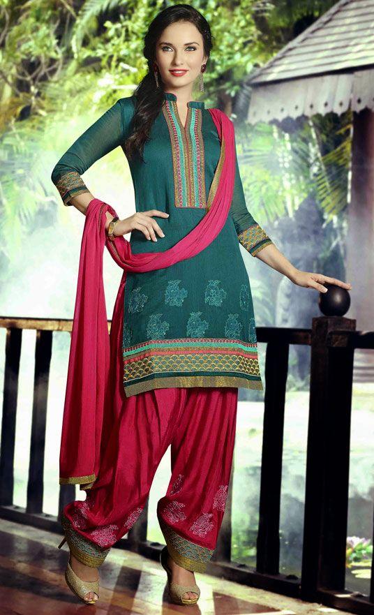 USD 31.53 Turquoise Cotton Cambric Punjabi Suit 47496