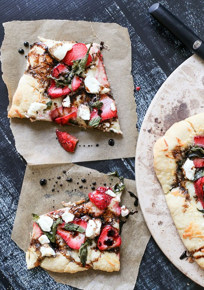 Strawberry Basil Pizza with Balsamic Glaze and Goat Cheese