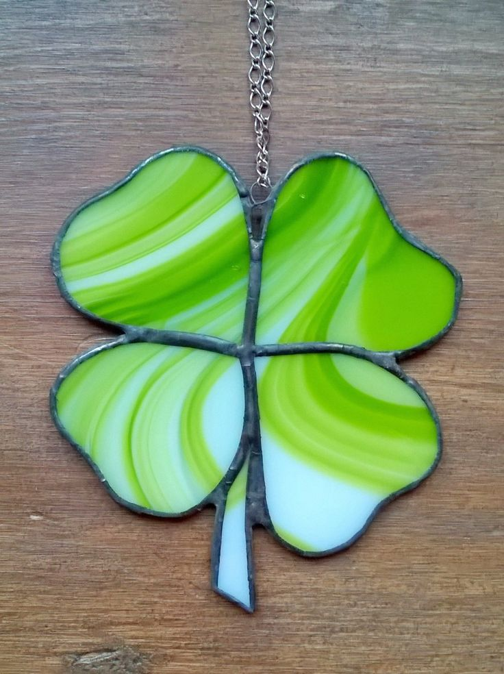 4 leaf clover, stained glass suncatcher, Lucky four leaf, Irish sun catcher, glass art, glassware, green and white glass, best selling items by BelleVerreBon on Etsy