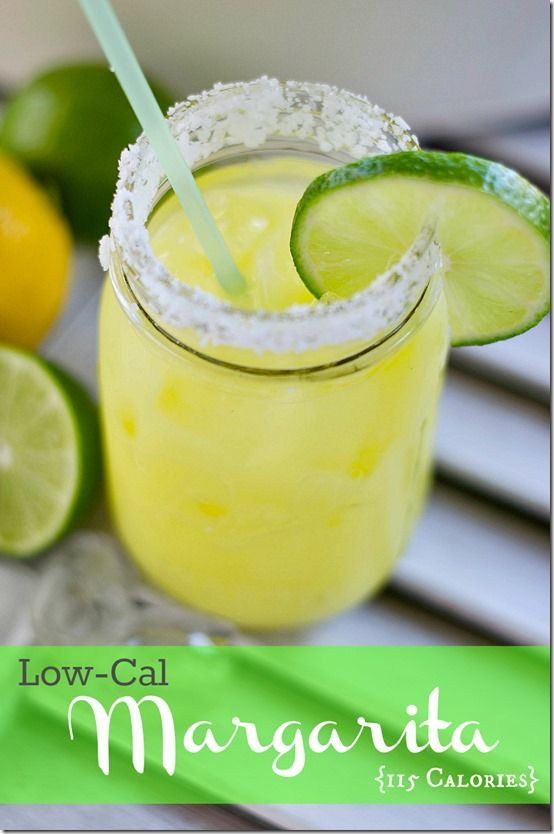115 Calorie Margarita  Source: Cooking Channel  I packet sugar free lemonade  Crystal Light )  6 oz. diet lemon-lime soda  1 shot tequila  1 ounce lime juice  Just mix it all together and pour over ice.You can even mix up a batch or two and put them in mason jars on ice.  Just shake it up before drinking.