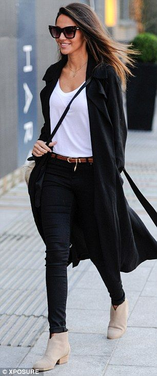 Fashion forward: Skinny jeans and sand coloured suede ankle boots completed a stylish look for the former Coronation Street actress on Saturday afternoon