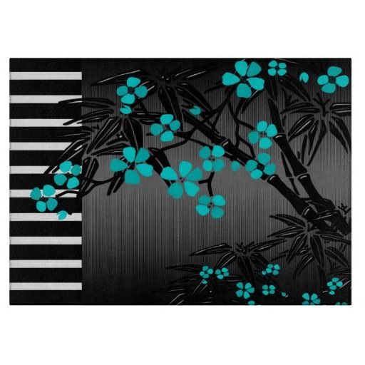 Teal Blue Blossoms Floral On Black Asian  Decorative Glass Cutting Board
