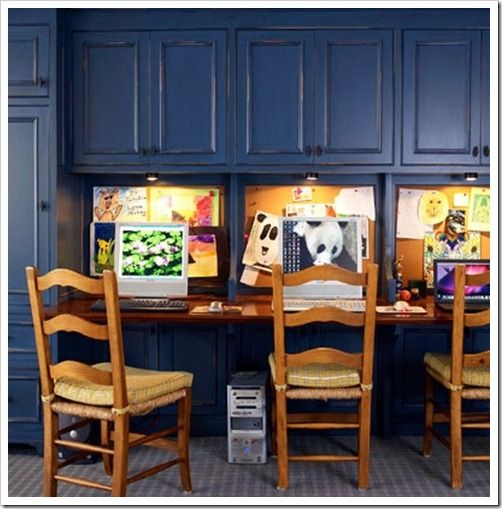 Sand and Sisal: 15 Homework Station Ideas For the boys suite, cabinets in white