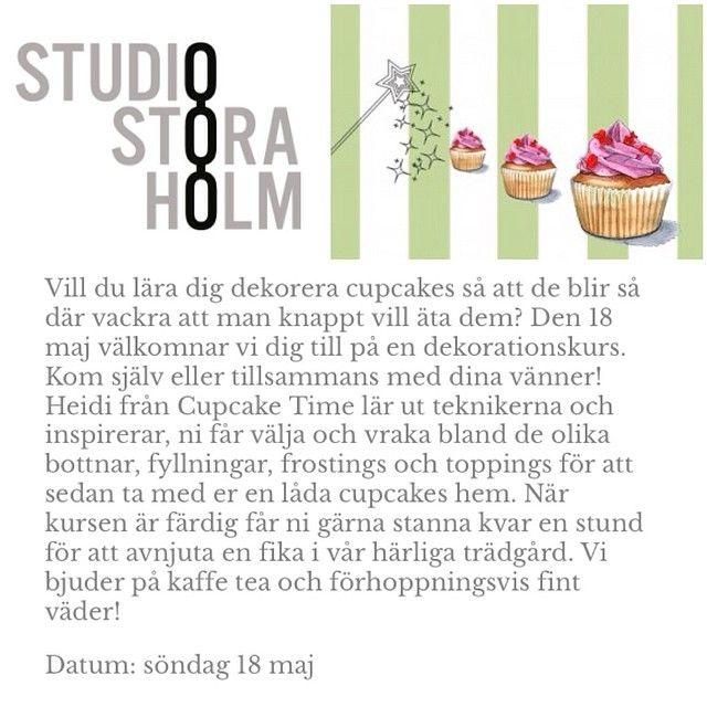 Platser kvar till cupcakekurs på Studio Stora Holm nästa söndag, boka nu! #cupcake #cupcakekurs #dekorationskurs #studiostoraholm @studiostoraholm