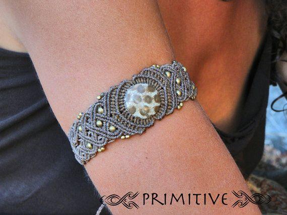 Pixie Tribal Macrame Bracelet with Coral Fossil Stone and Brass Beads Hippie GYPSY Jewelry