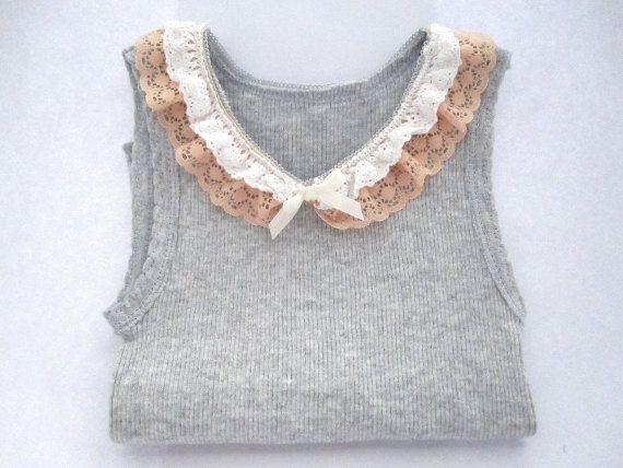DIY? Gray baby singlet top with crochet lace. $12.00, via Etsy.