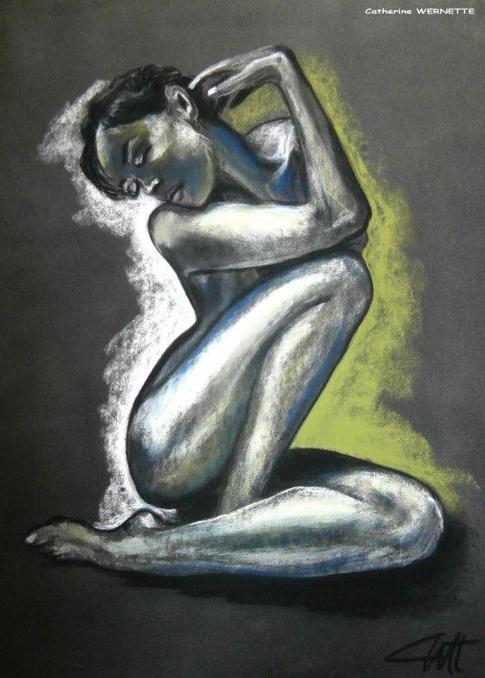 Catherine WERNETTE (©2014 artmajeur.com/catherinewernette) LA SONGEUSE  Buste juste vêtu De tissus de pensées. Joliment encensé, Esprit épanouit Tatoue sa peau nue Des envies d' « encore ». Elle se damne Au plaisir de la vertu. Alanguie, Emane l'aura charnelle Du corps dévêtu. Beauté naturelle, Elle est volupté. Sensuelle sans velours Ni dentelles. Âme courbe D'une femme Sans flamme fourbe. Sacrés secrets, Elle se love En l'intime alcôve. Reine sereine, Dans un ultime ...