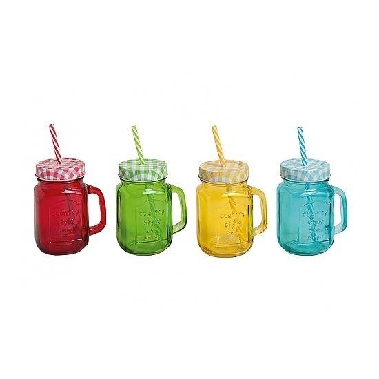 Drink bekers met deksel en rietje  Drinkbeker of glazen potje met rietje en deksel. Inhoud: 450 ml. Gekleurd glas en voorzien van handvat. De zogenaamde Mason Jars.  EUR 2.60  Meer informatie
