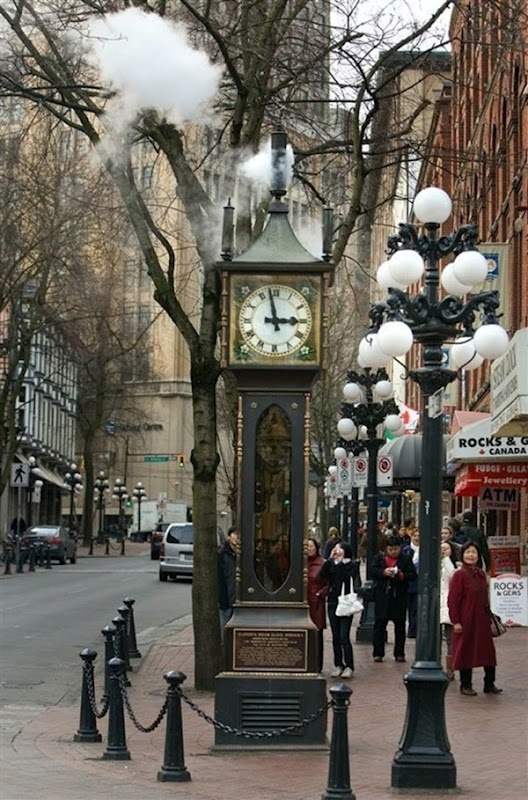 "The landmark steam clock in Gastown, Vancouver's first downtown core, named after ""Gassy"" Jack Deighton, a Yorkshire seaman, steamboat captain and barkeep."