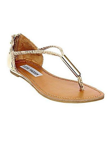 Steve Madden Reader Faux Leather Thong Sandals Gold