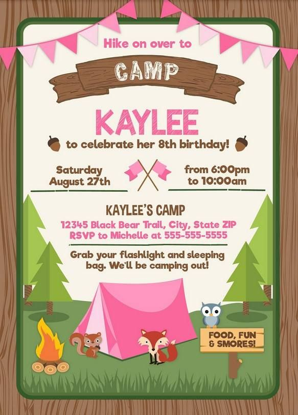 photo relating to Free Printable Camping Birthday Party Invitations called Totally free Printable Tenting Social gathering Invitation for Females No cost
