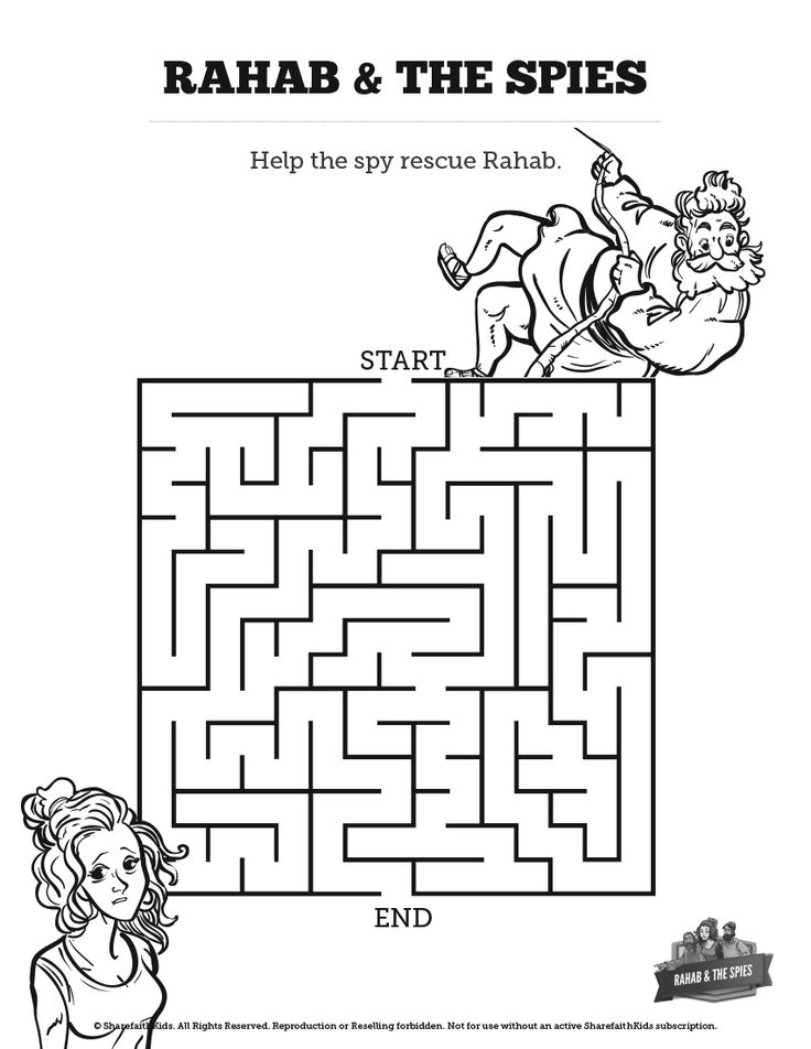 free israel coloring pages for children | Joshua 2 The Story of Rahab Bible Mazes: Can your kids ...
