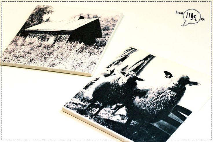 Print on clay. Handmade tiles with decoration.   Käsintehdyt kaakelit valokuvasta. Siirtokuvakoristelu.