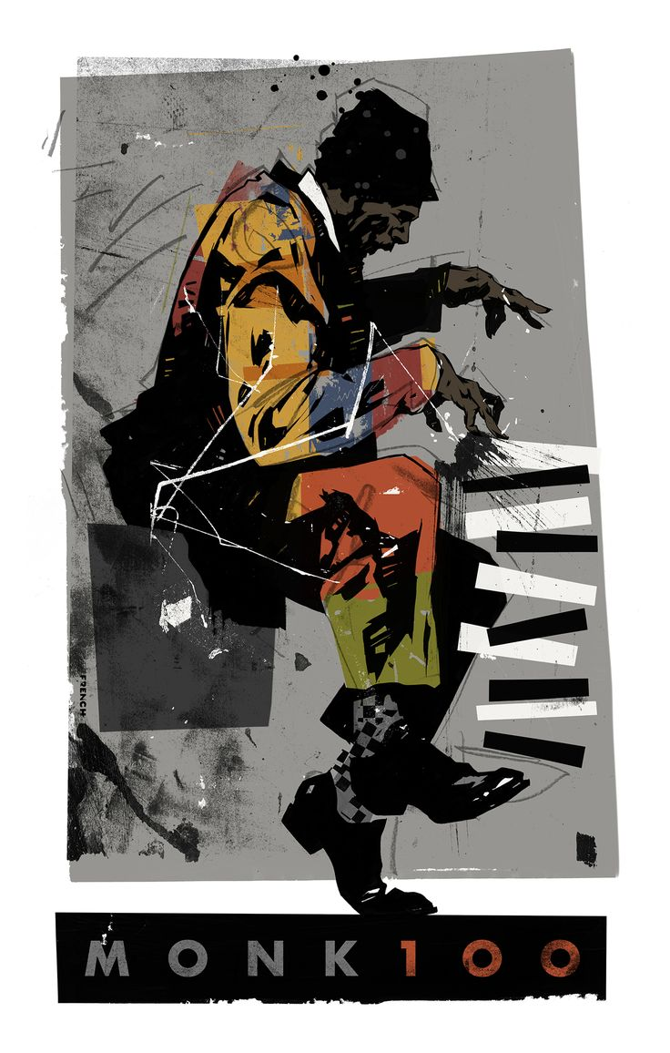 A poster celebrating the centennial of the great Jazz pianist and innovator Thelonious Monk. | Printing in 2019 | Jazz art, Music drawings, Thelonious monk