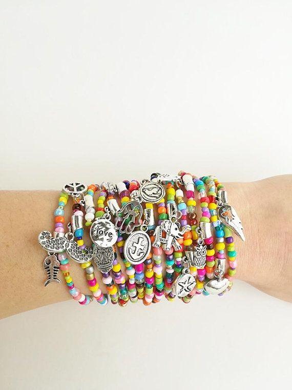 Silver Charm Bracelet Friendship Bracelet Colourful Beaded Etsy Pulseras De Cuentas Pulseras Pulseras En Capas