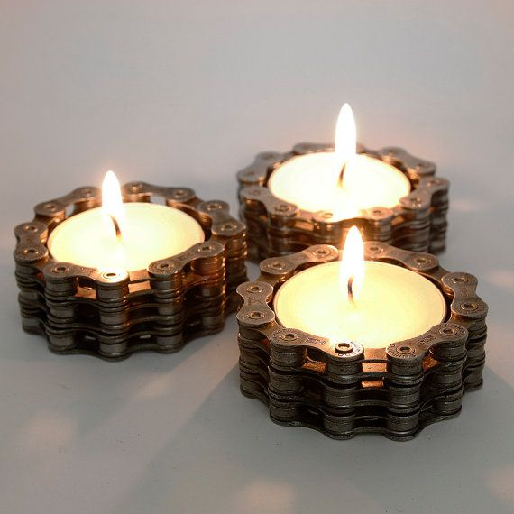 This Trio of Industrial tea light holders make a fantastic addition to any home, but especially the home of a cyclist or lover of steampunk