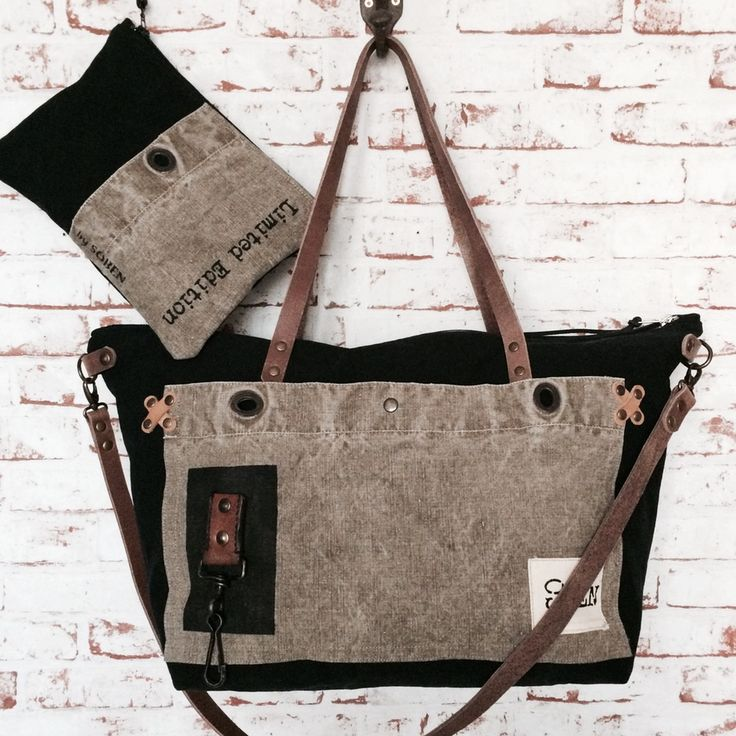 "Image of Ensemble week-end bag / Sac Cabine ""Ride the waves"" et sa pochette"