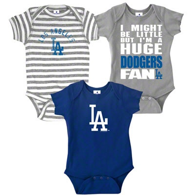LA Dodgers 3 Onsie Pack! Love these!...Can't wait to have some little ones to take to the ball park!