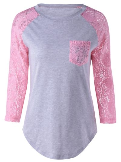 SHARE & Get it FREE   Lace Sleeve Round Neck T-ShirtFor Fashion Lovers only:80,000+ Items • New Arrivals Daily Join Zaful: Get YOUR $50 NOW!