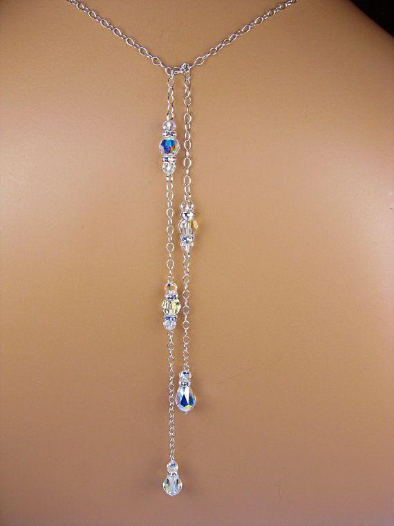 Backdrop Bridal Necklace Swarovski Crystal Teardrop Lariat Style Tie Back Necklace Wedding Back Necklace Sterling Silver Chaney