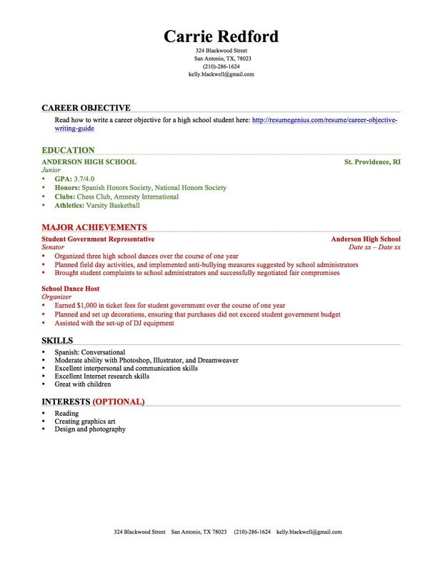 Resume Template High School Student - Khafre