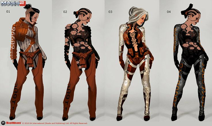 Character exploration for Jack from the Mass Effect series. All costume designs are drawn with simple lines, flat coloring and roughly copypasted textures. Also all designs a drawn over the same silhouette, so that elements from individual designs can be recombined into new costumes. By Matt Rhodes