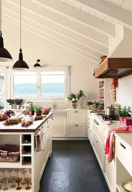 Cocina blanca rustica